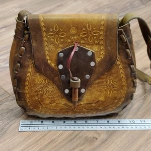 Vintage Leather Tooled Flower Boho Purse
